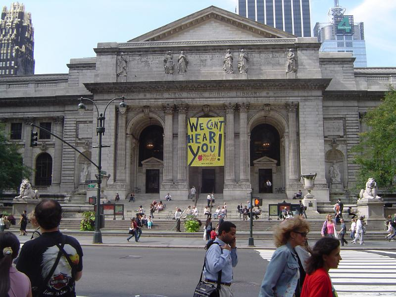 Old Vintage New York Public Library on Street Side