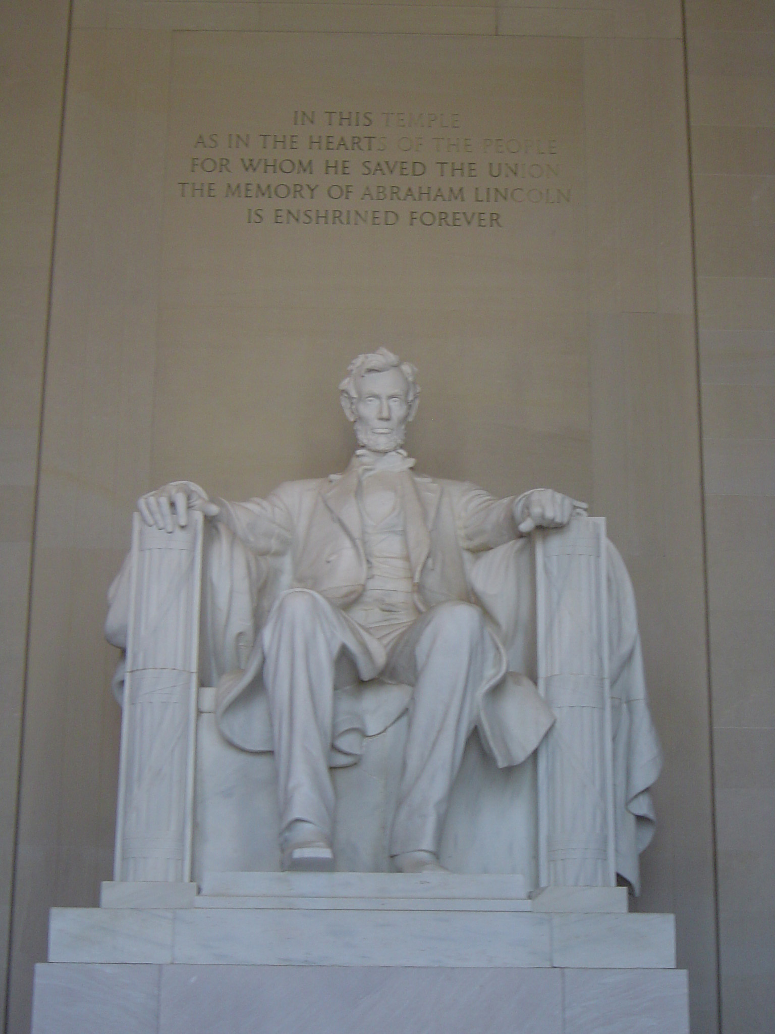Abraham Lincoln White Sitting Statue at Lincoln Memorial Located in Washington DC