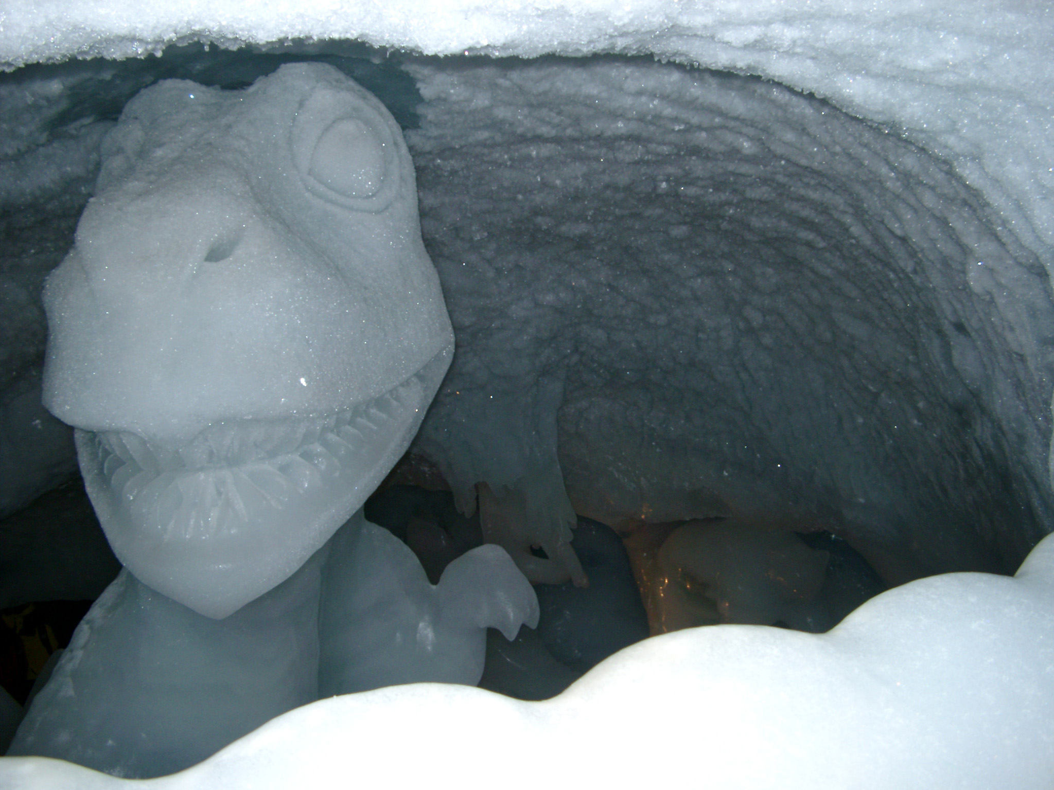 Close up Man Made Snow Dinosaur Sculpture at the Ice Cave.