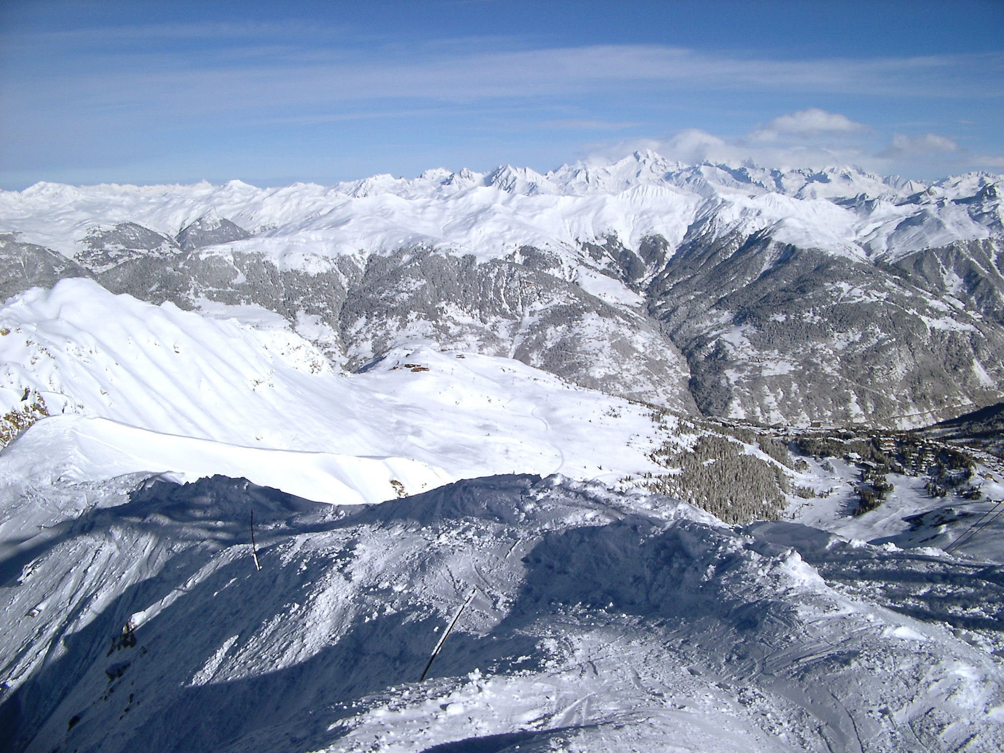 Extensive View of Huge French Mountains Filled with Snow in the Winter Holiday Season
