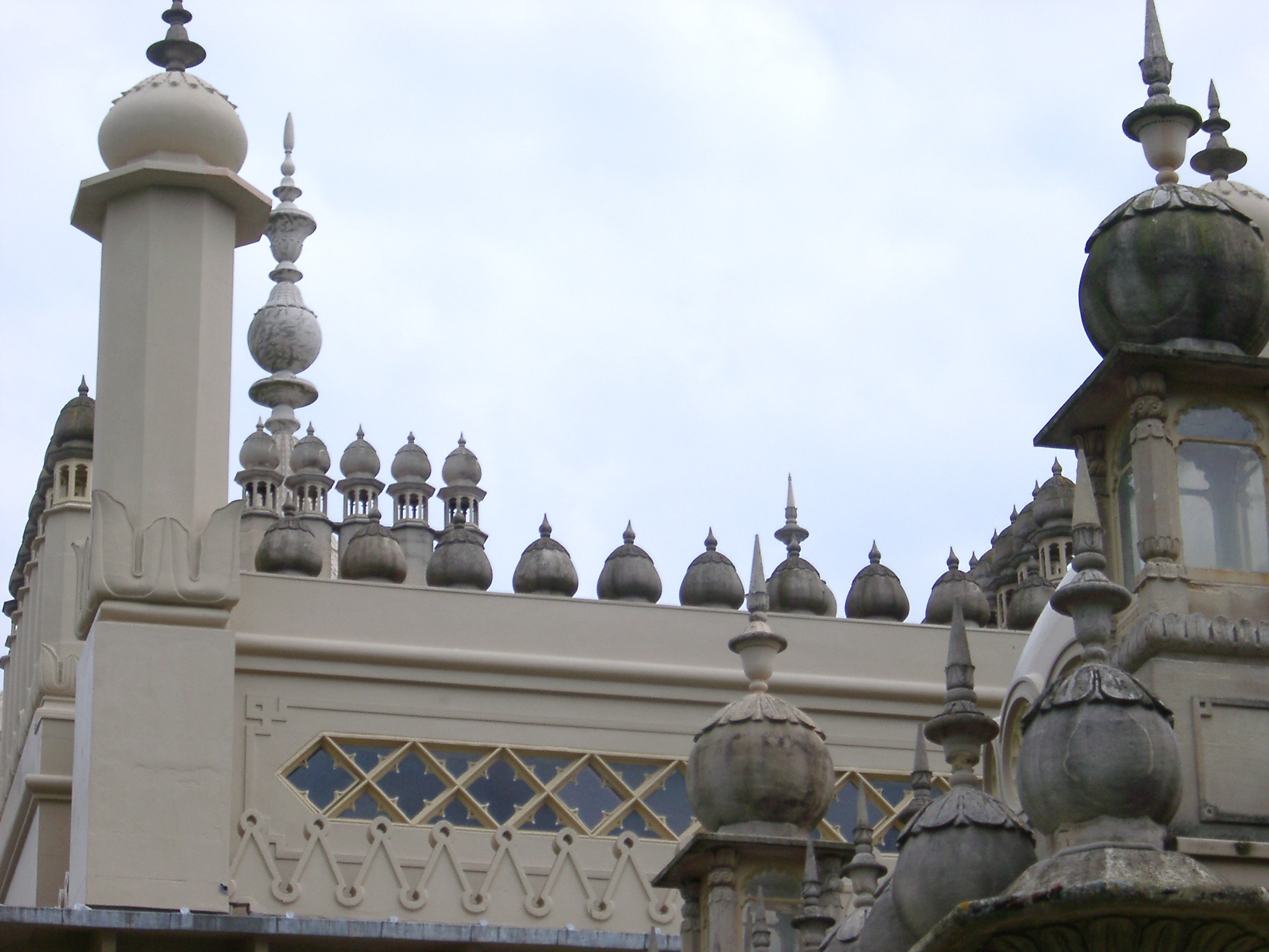 Architectural Design of Famous Royal Pavilion Building at Brighton, England. Captured on Light Blue Sky Background.