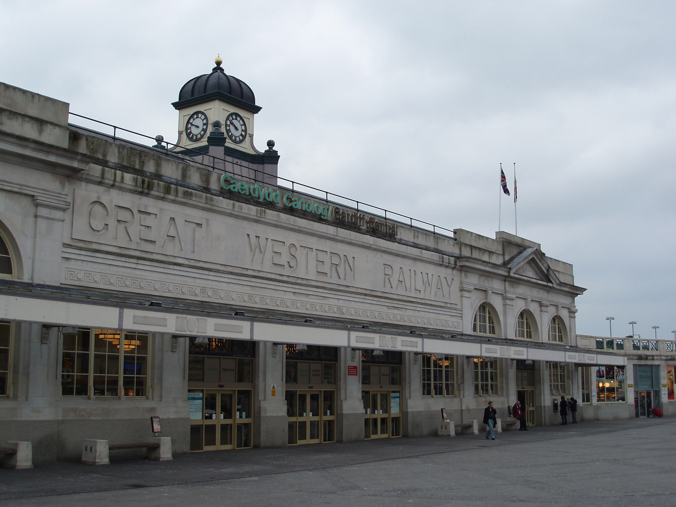 Front View of the main Building at Cardiff Central Station, Wales