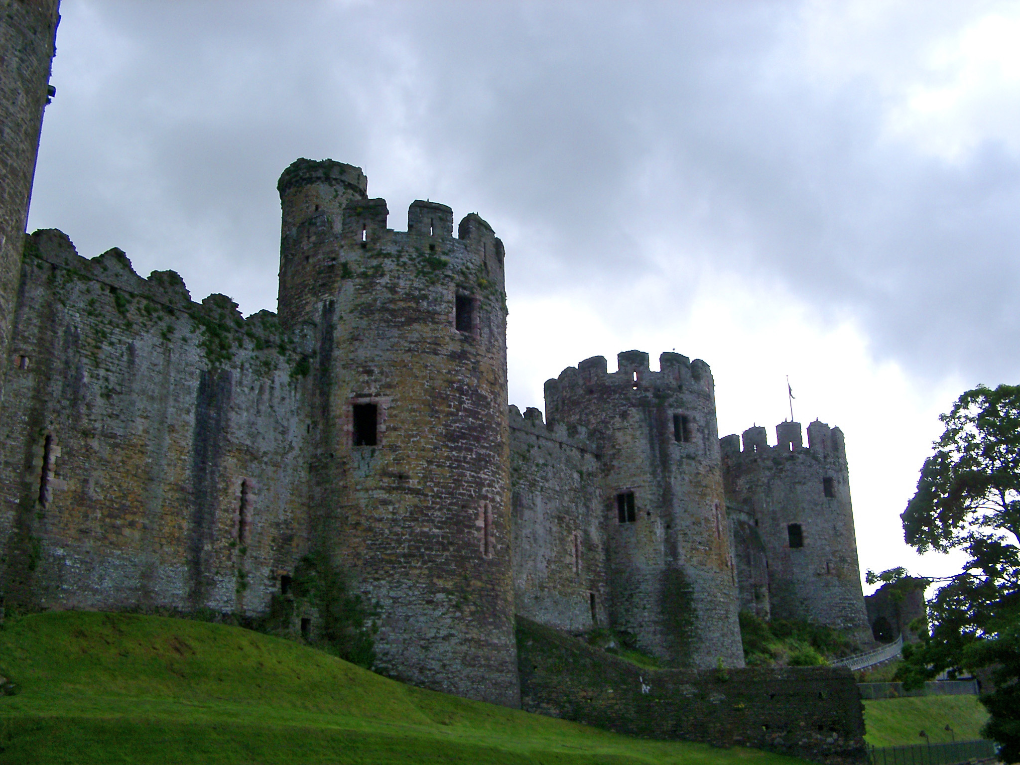 Conway, Wales, UK, walled medieval town with a view of the castellated ramparts and circular stone towers