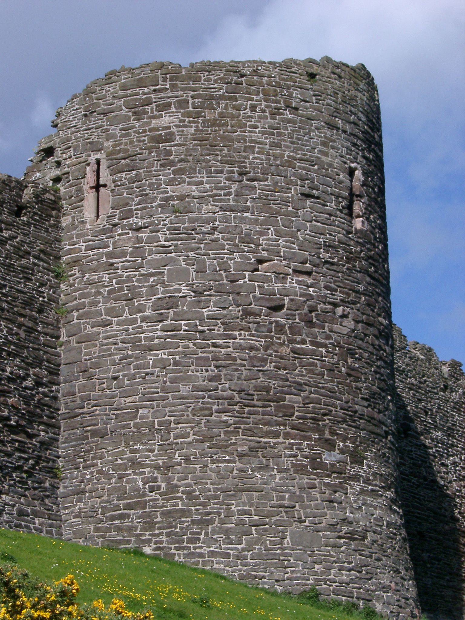 Old medieval fortified circular stone tower at Conway Castle, Conway, North Wales