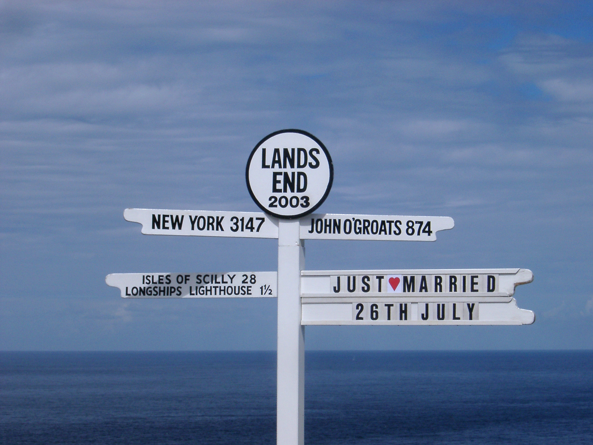 famous direction sign at lands end, cornwall