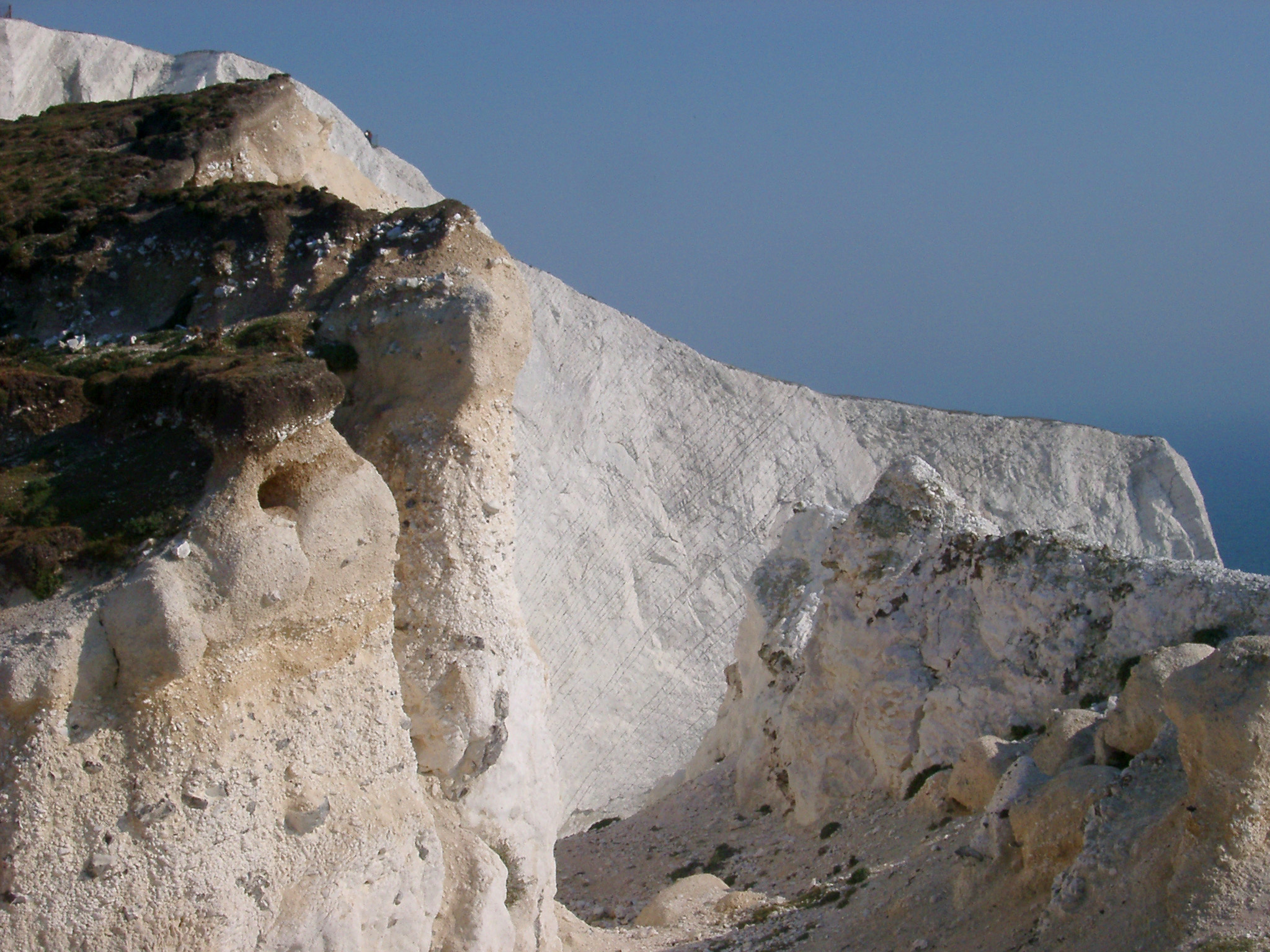 Close up Famous Textured Chalk Cliffs at Whitecliff Bay on the Isle of Wight. Captured with Blue Gray Sky Background.