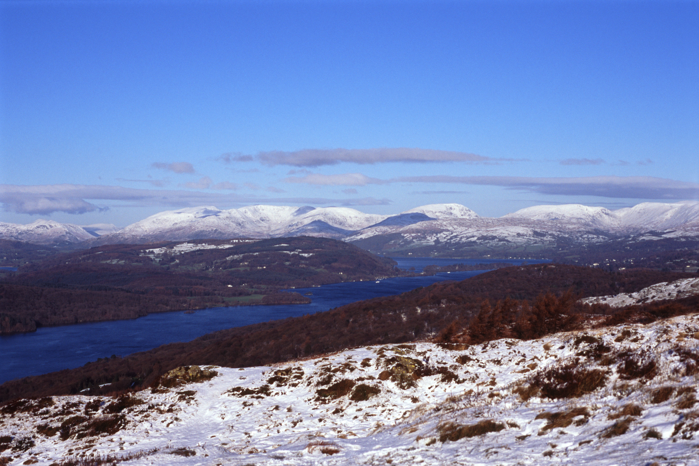 a view up windermere towards the town of windermere in winter