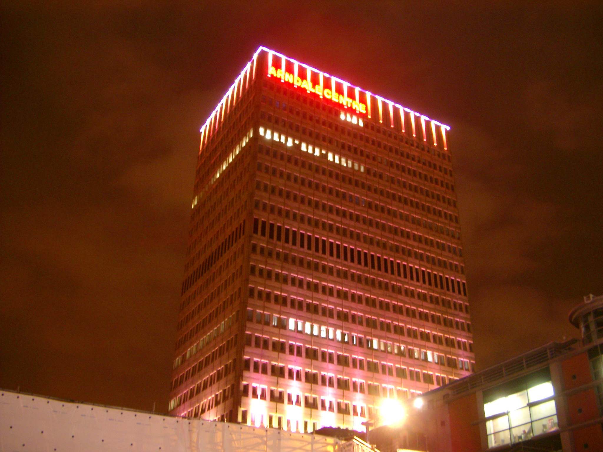 Glowing Lights at Night Time From landmark Arndale Tower in Manchester, England.