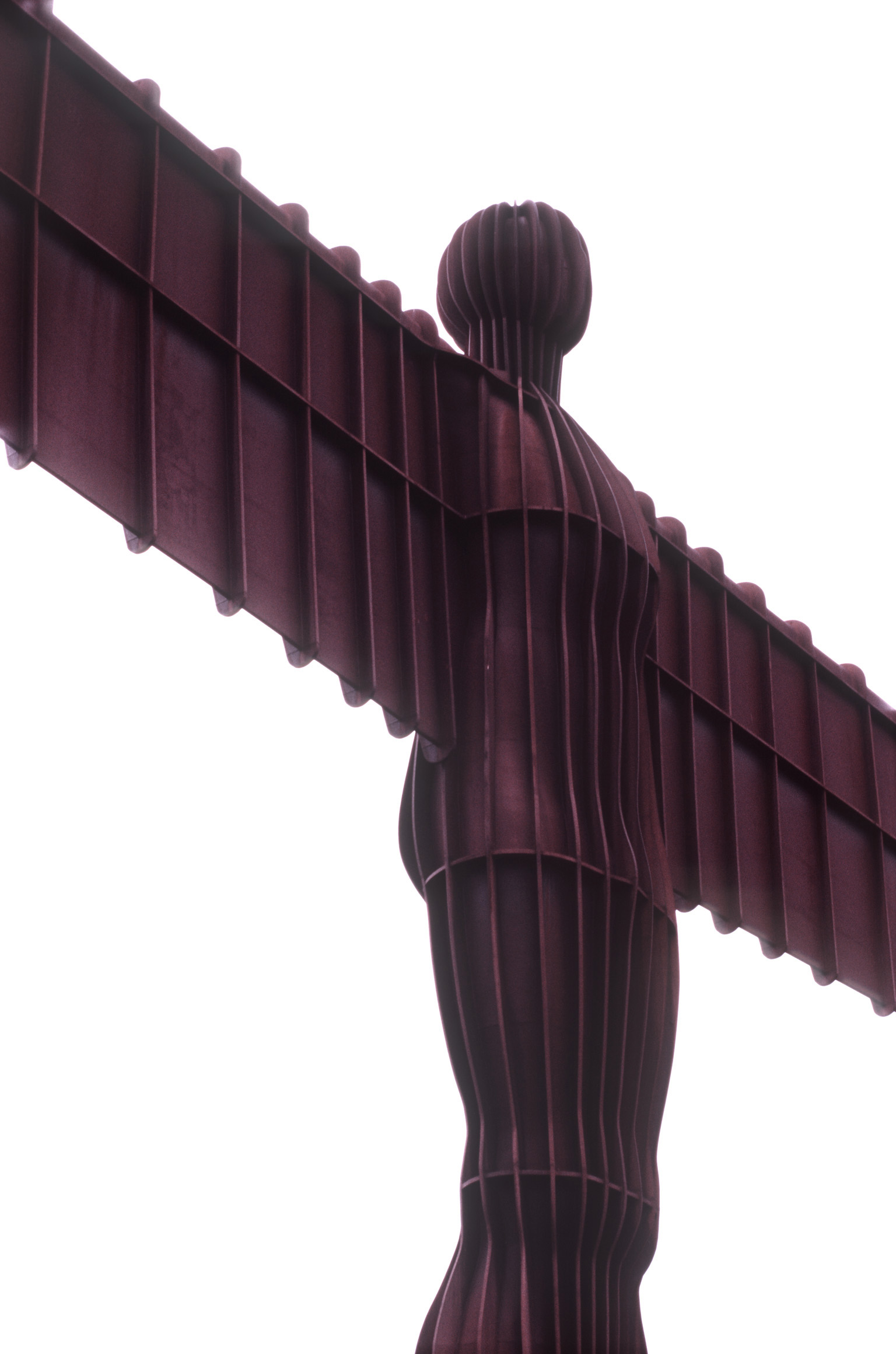 Angel of the North sculpture detail showing the structure of the body and outstretched wings, Gateshead, Newcastle