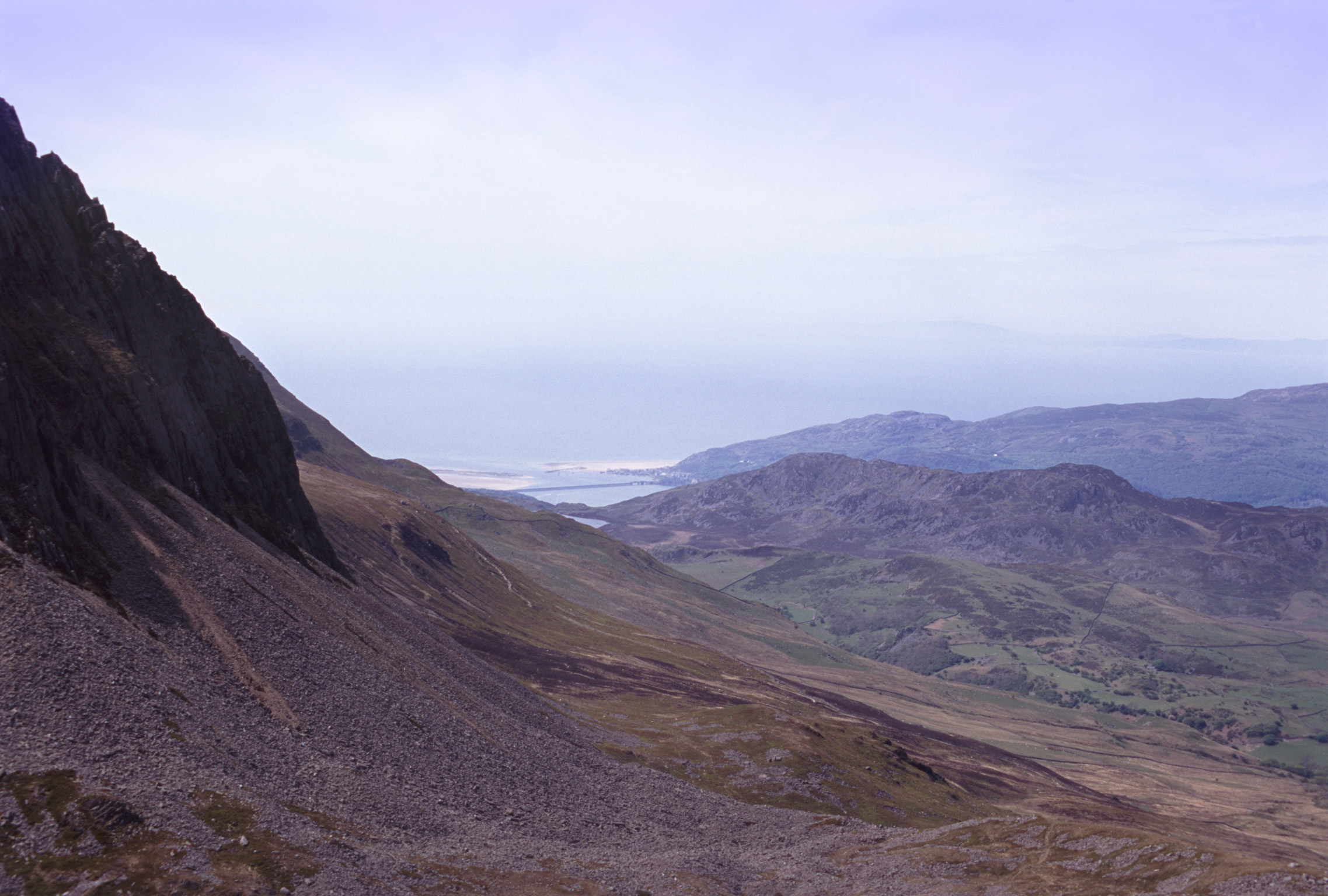 View from Cadair Idris, a mountain in Gwynedd, Wales down towards the coast to Barmouth