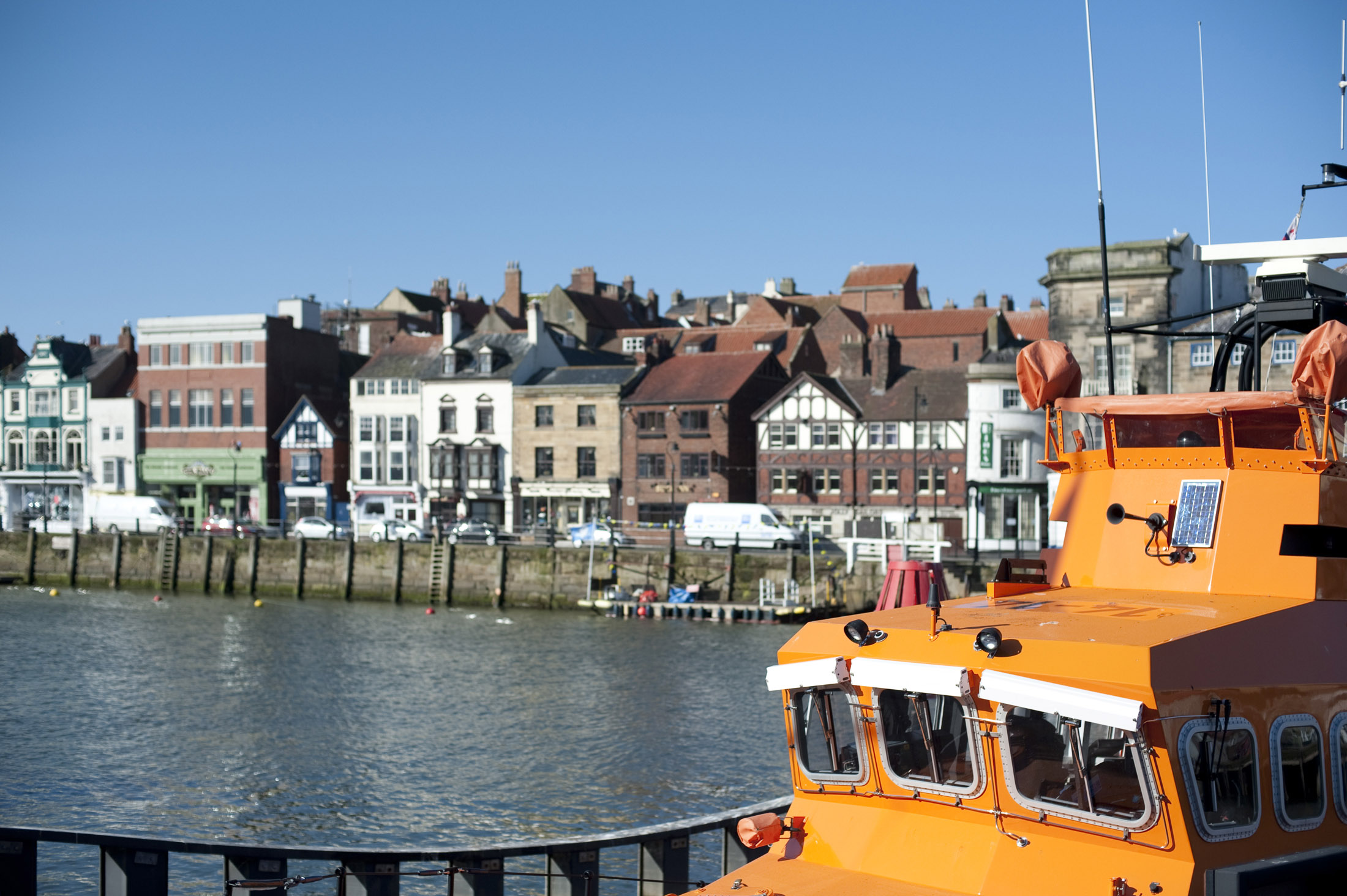 whitby RNLI life boat moored at the quay side