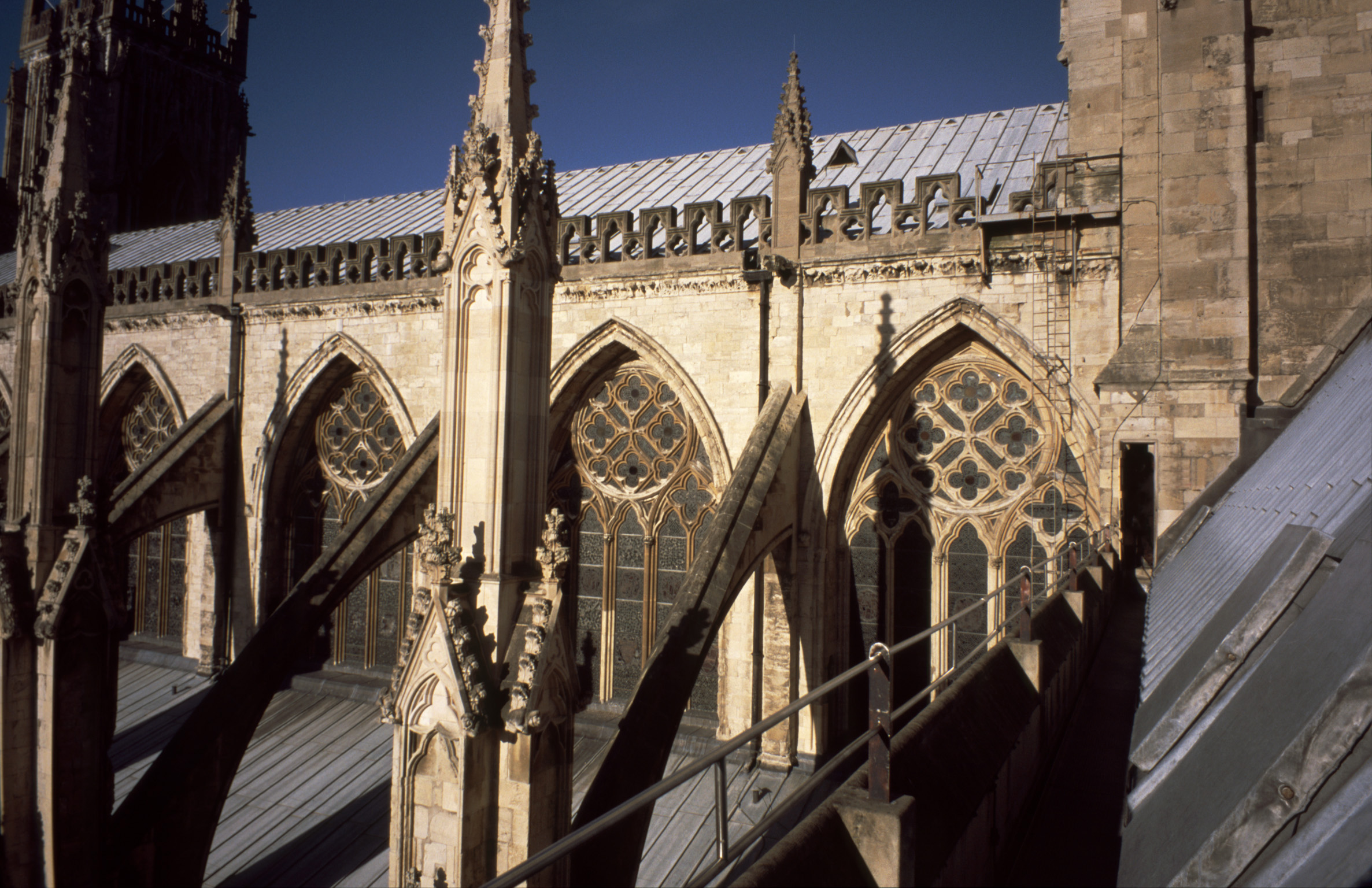 Architectural Exterior of Gothic Nave of Historical York Minster Cathedral, York, England