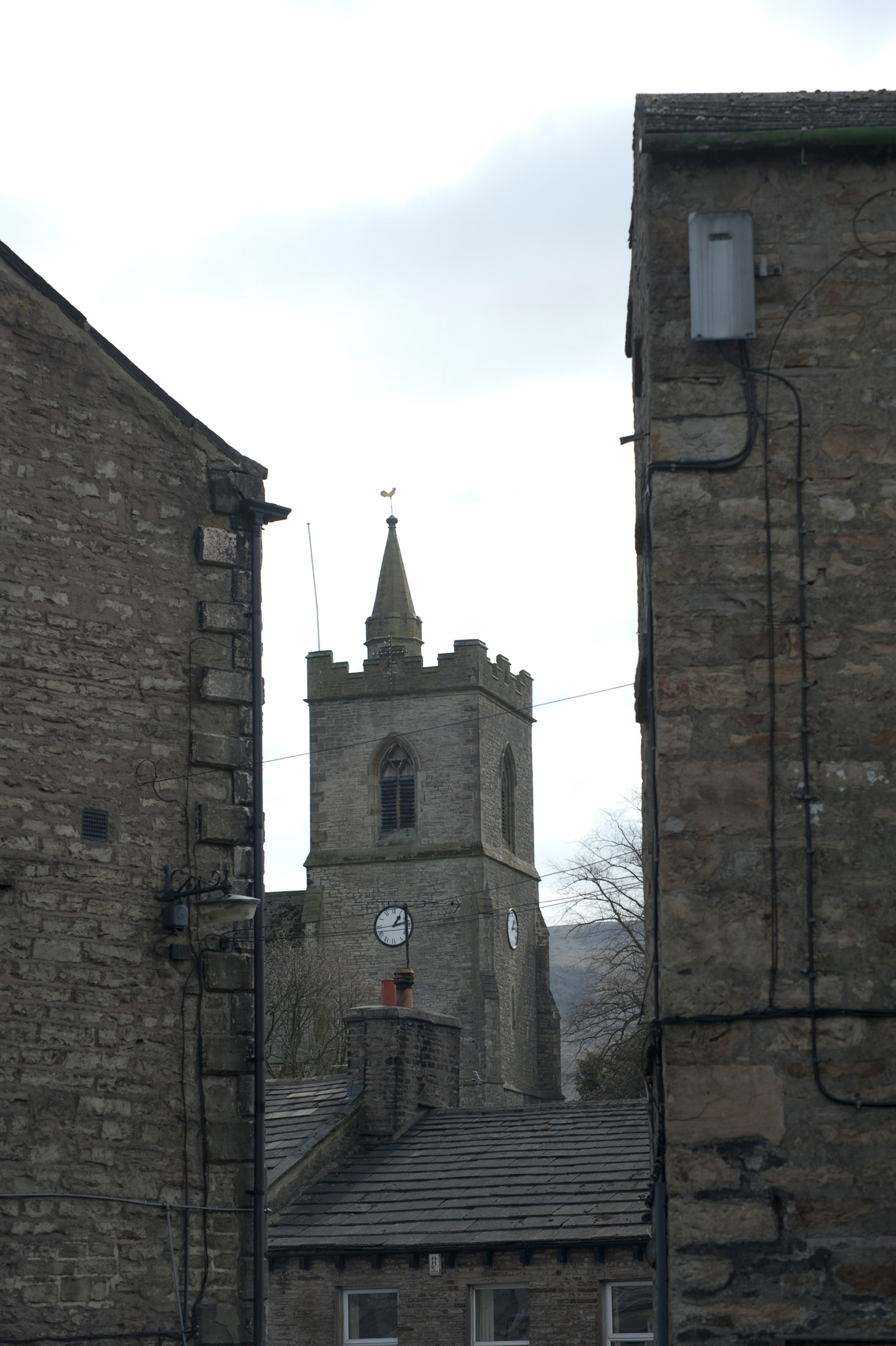 church tower in the yorkshire village of hawes