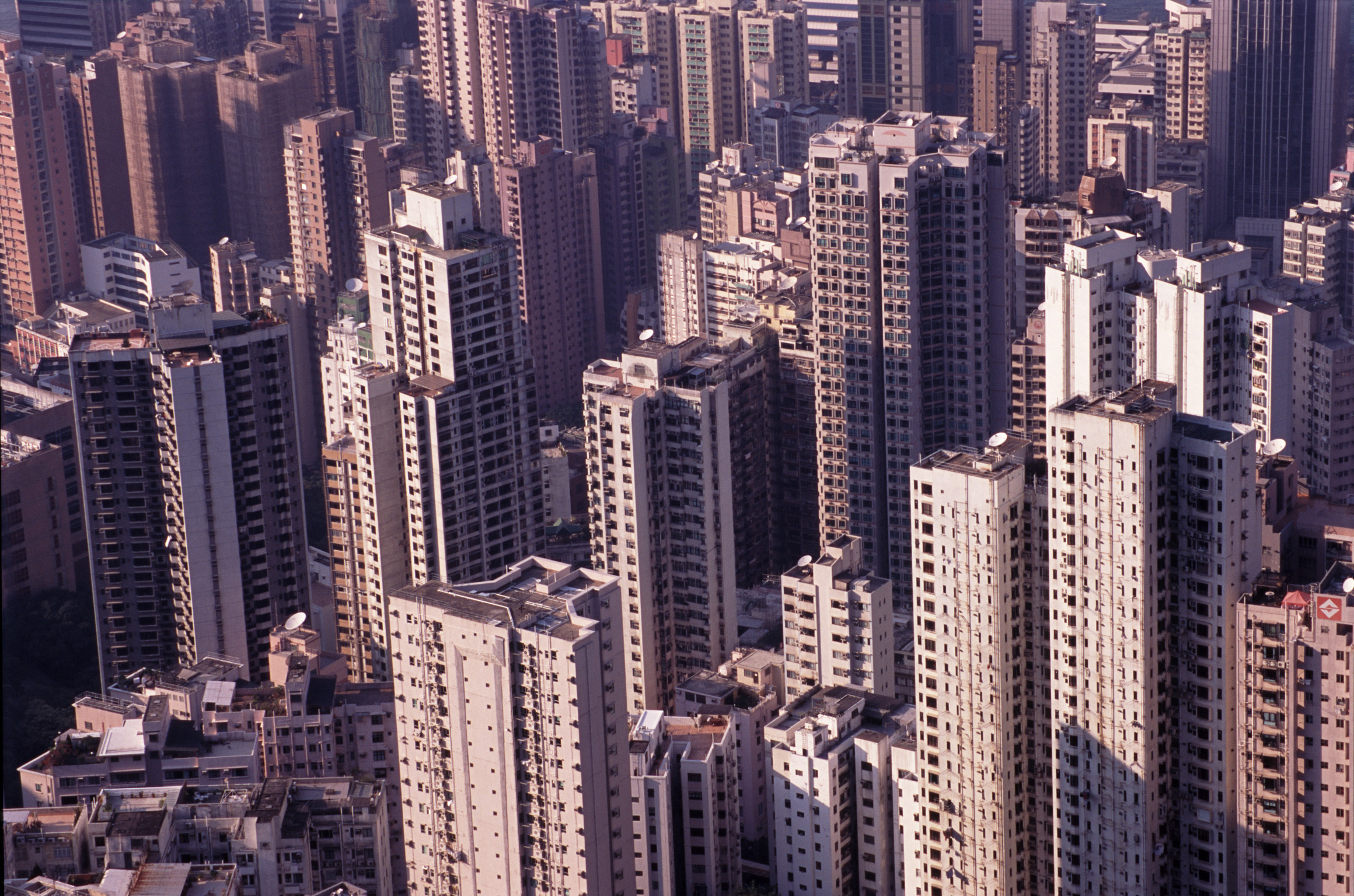 Aerial View of Architectural High Rise City Commercial Buildings in Hong Kong, China.