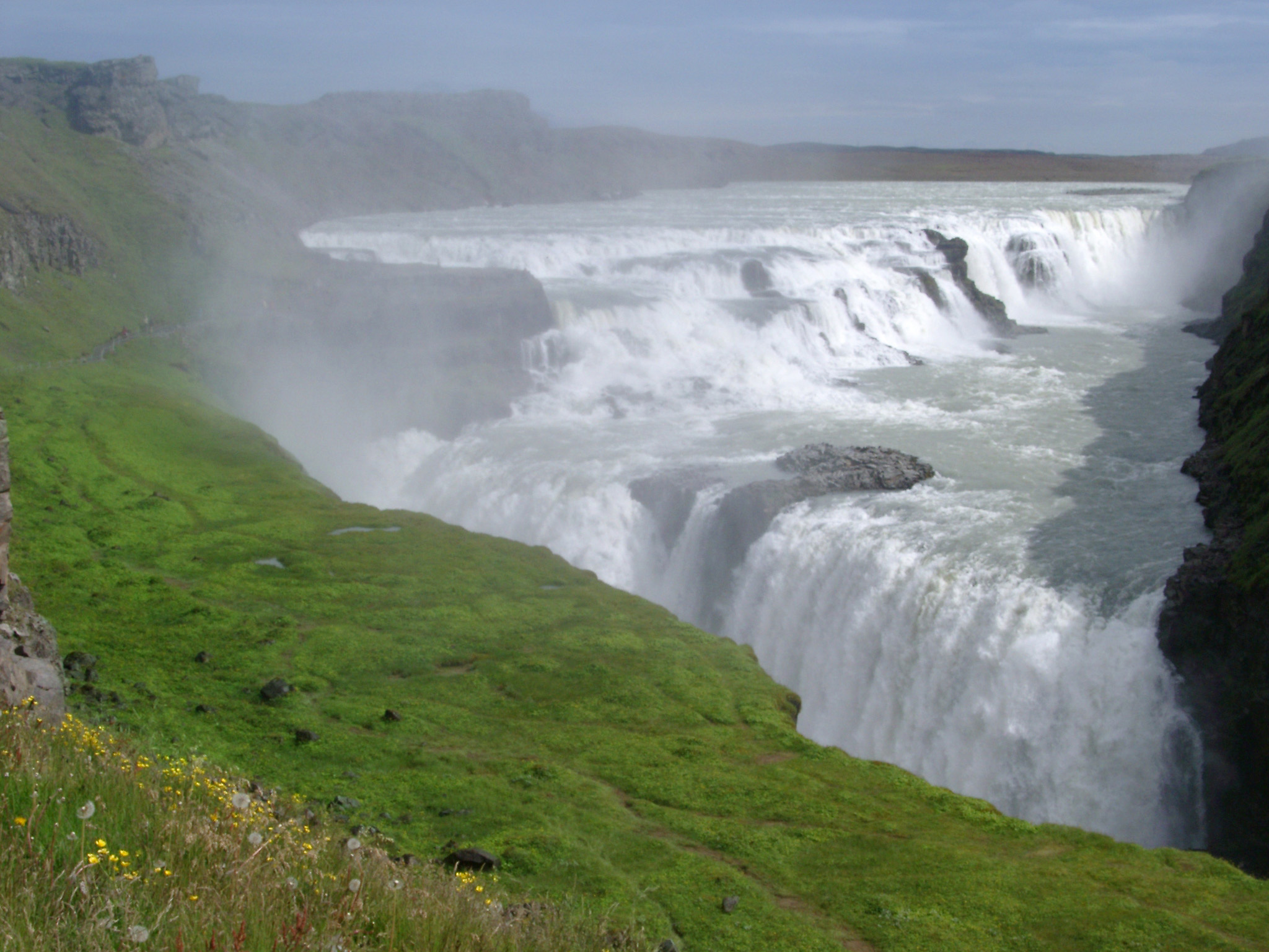 Overview of Gullfoss Falls and Mist in Iceland on Sunny Day