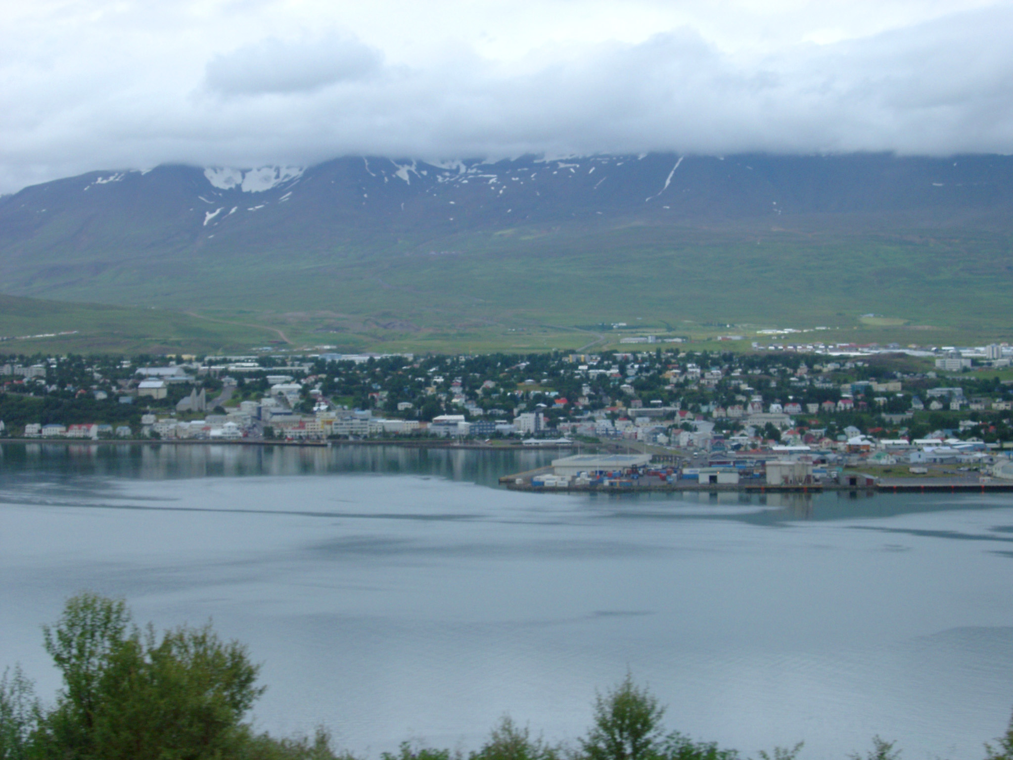 View of Akureyri from Across Eyjafjorour Fjord in Iceland