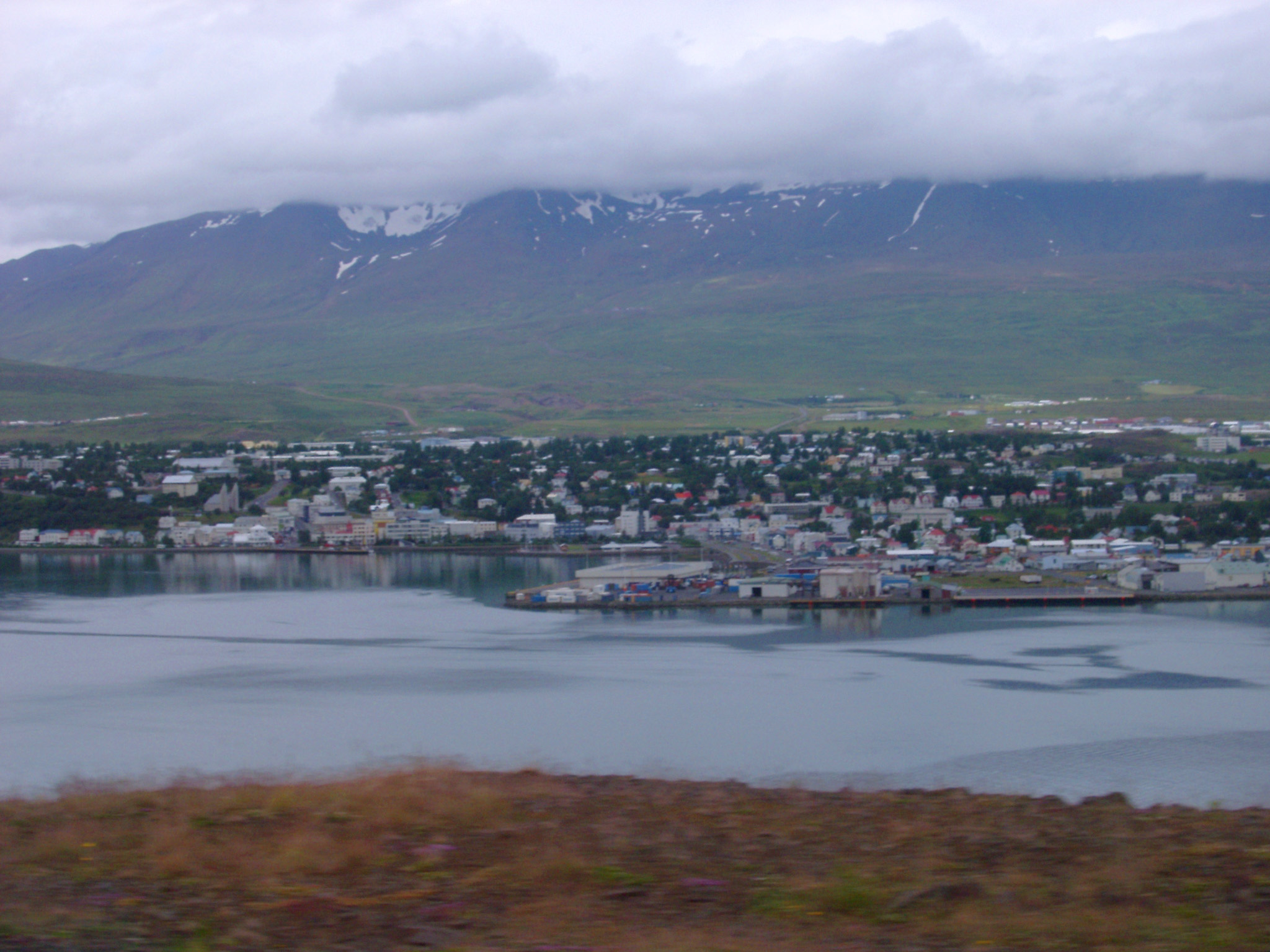 Town of Akureyri and Eyjafjorour Fjord and Mountains in Background in Northern Iceland