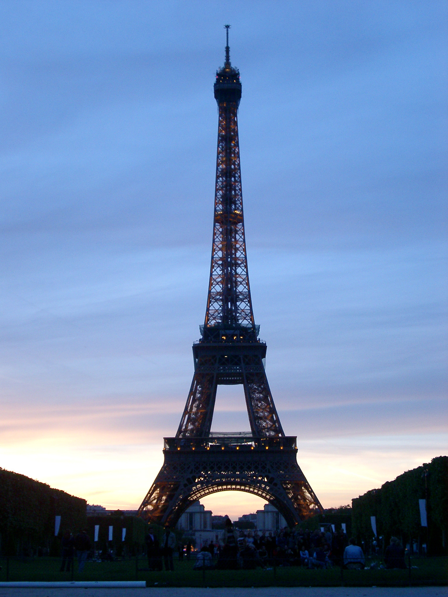 Silhouette of Eiffel Tower at Dusk or Dawn with Cloudy Sky, Paris, France