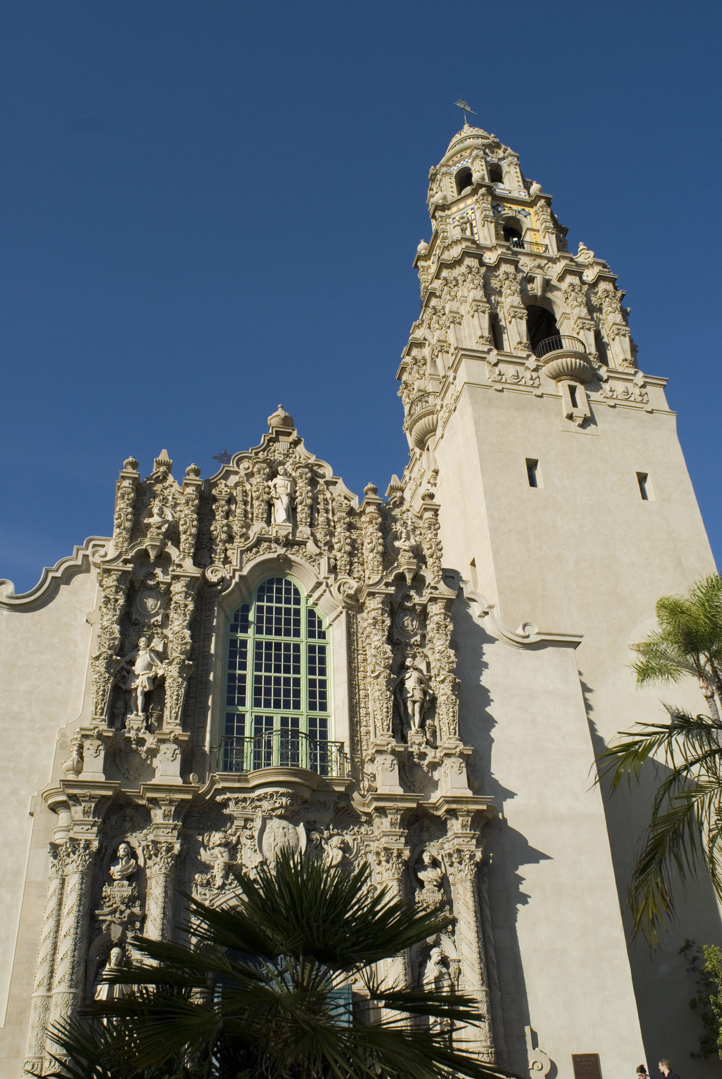 Beautiful Historic Architectural Church at Balboa Park San Diego in Worms Eye View. Isolated on Blue Sky background.