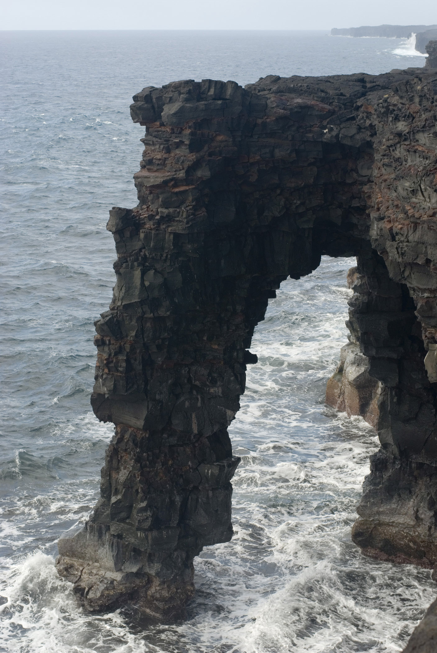 Historic Structure of Holei Sea Arch on South Coast Hawaii Volcanoes National Park.