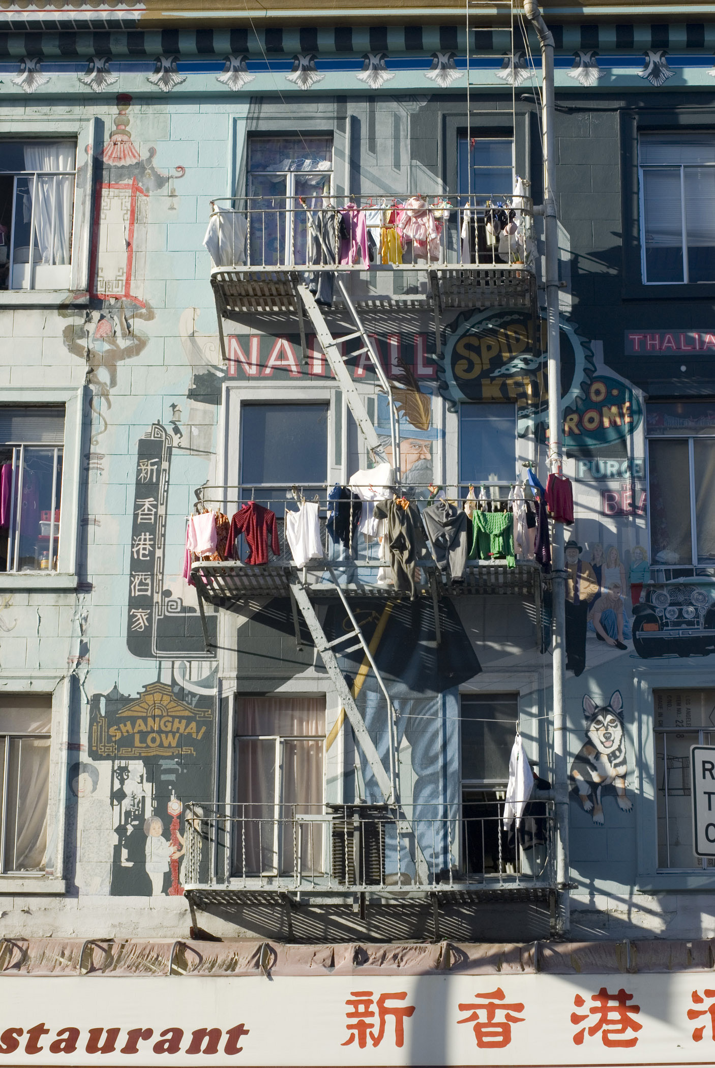 Clothes hanging out to dry over the balconies at a Chinese washhouse at a North beach laundry, San Francisco