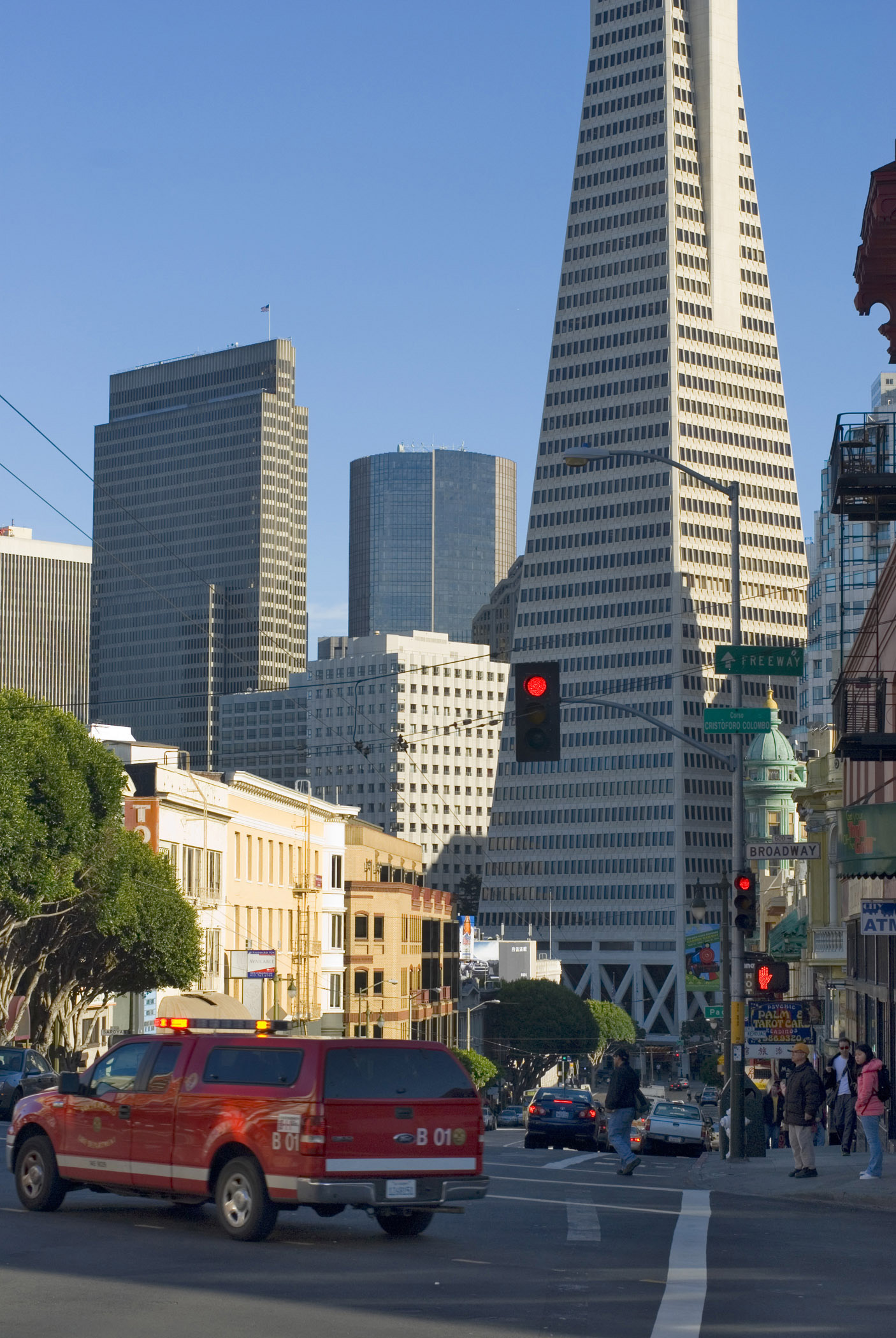 Architectural City Buildings Along the Street at Columbus Avenue San Francisco. Emphasizing Transamerica Pyramid.